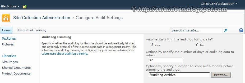 trim audit log sharepoint 2013