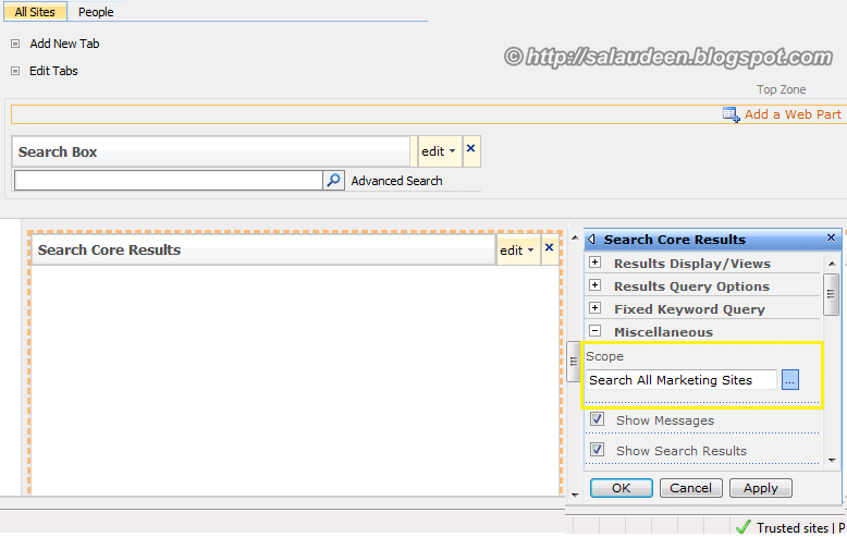 sharepoint search scope result page