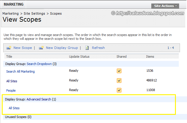 sharepoint search core results scope