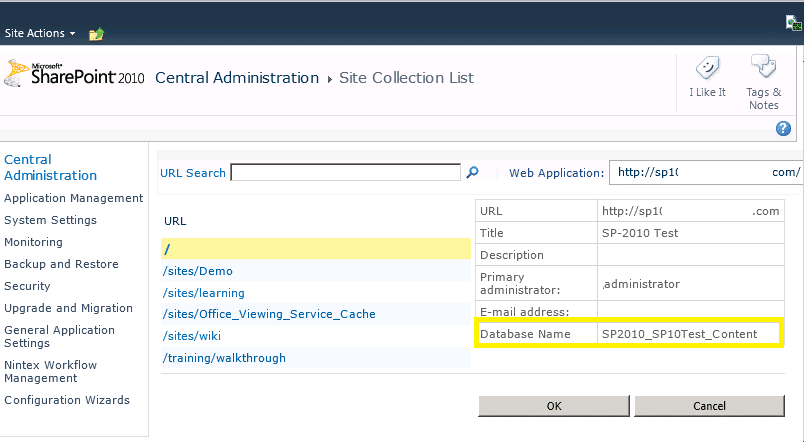 site collection's content database sharepoint 2010