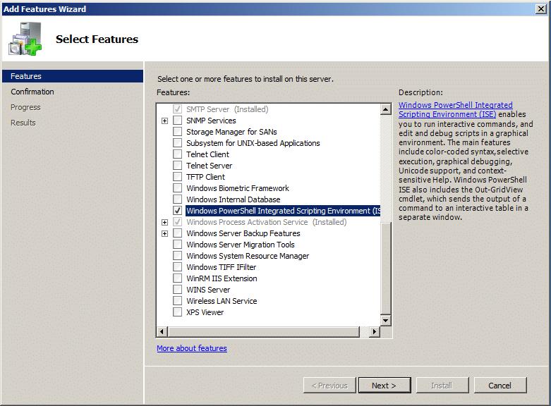 powershell ise windows 2008 r2 install