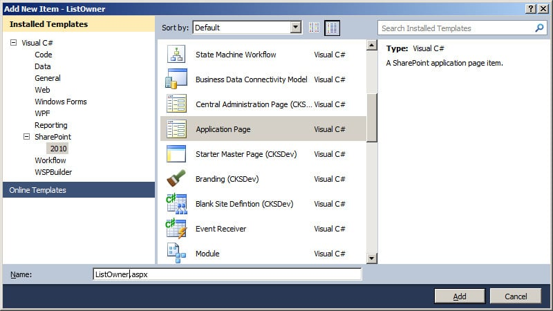 how to create custom application page in sharepoint 2010