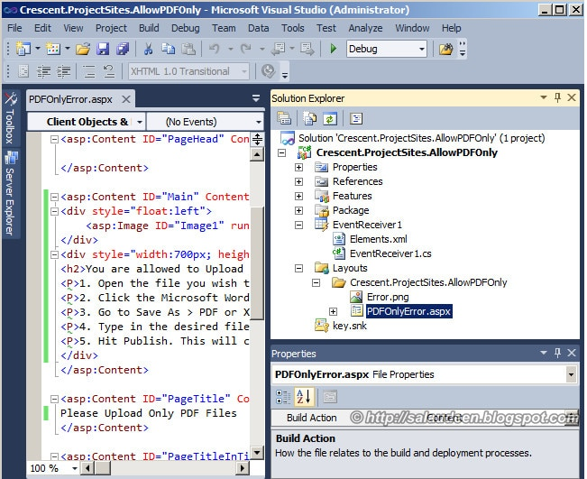 sharepoint 2010 event receiver custom error page
