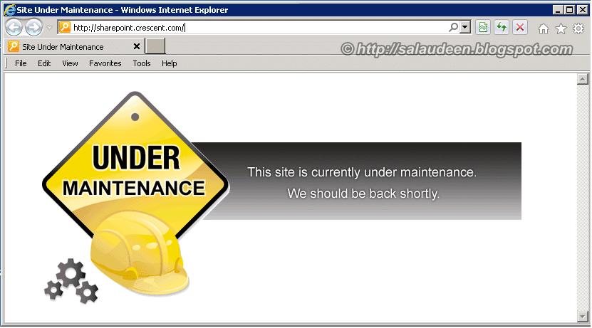 sharepoint display maintenance page