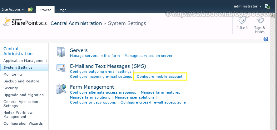 Mobile Account Configuration For SMS Service in SharePoint 2010 Central Administration