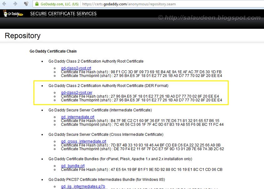 Download GoDaddy's Root Certificate