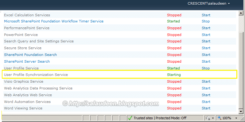 """User Profile Synchronization Service Stuck at """"Starting"""" state"""