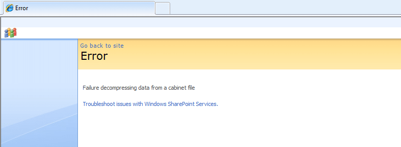 Failure decompressing data from a cabinet file