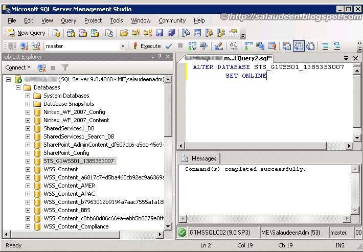 sql server bring database online