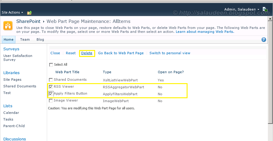 sharepoint 2010 delete closed web part