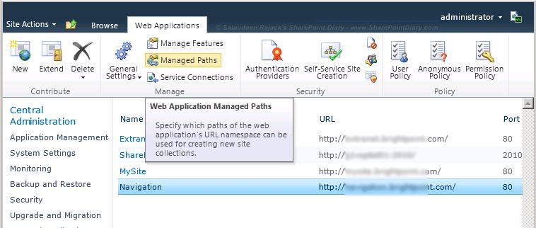 sharepoint web application managed path