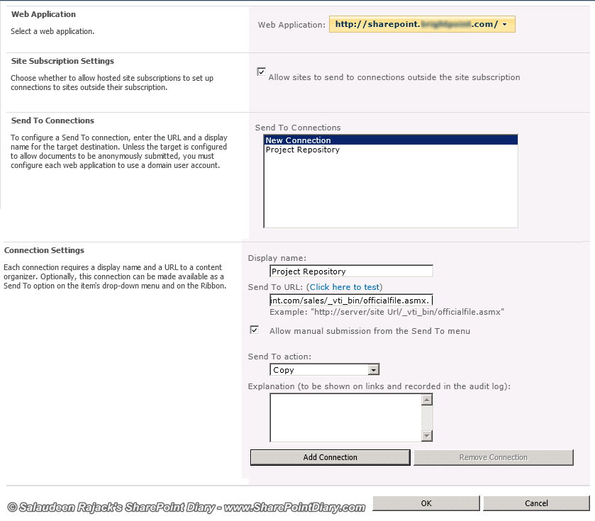 sharepoint 2010 configure send to connections