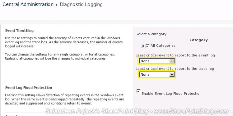 sharepoint 2010 diagnostic logging categories
