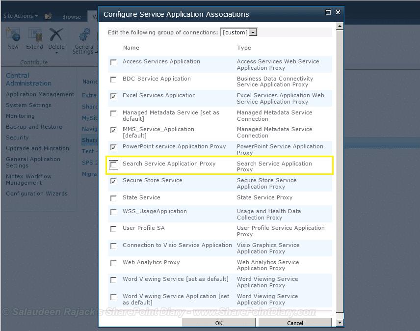 SharePoint service application association