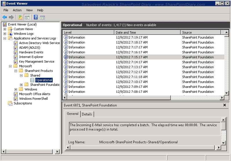 sharepoint logs in event viewer