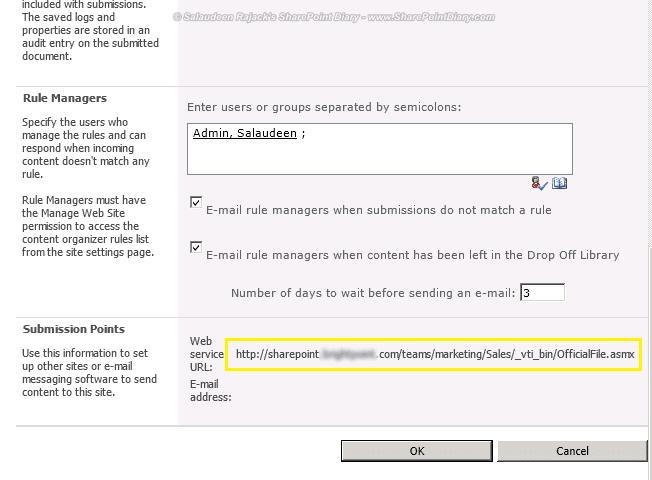 sharepoint 2010 send to url