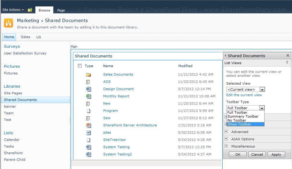 sharepoint 2010 list view show toolbar