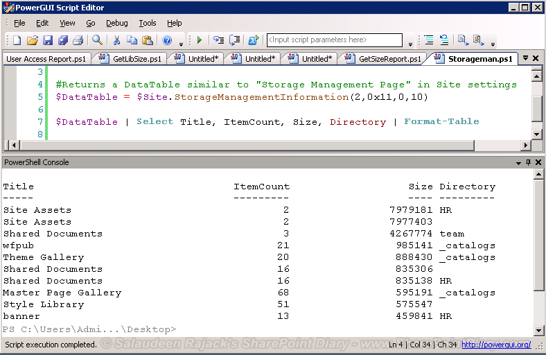 get document library size powershell