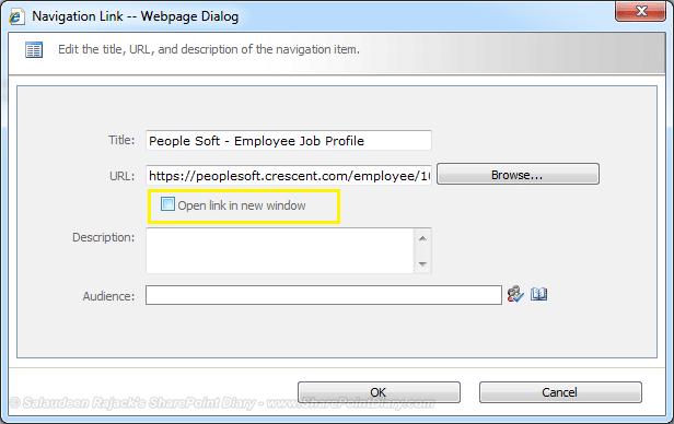 sharepoint navigation hyperlink open new window