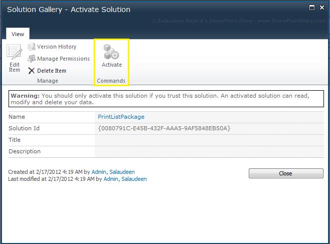 activate sandbox solution disabled