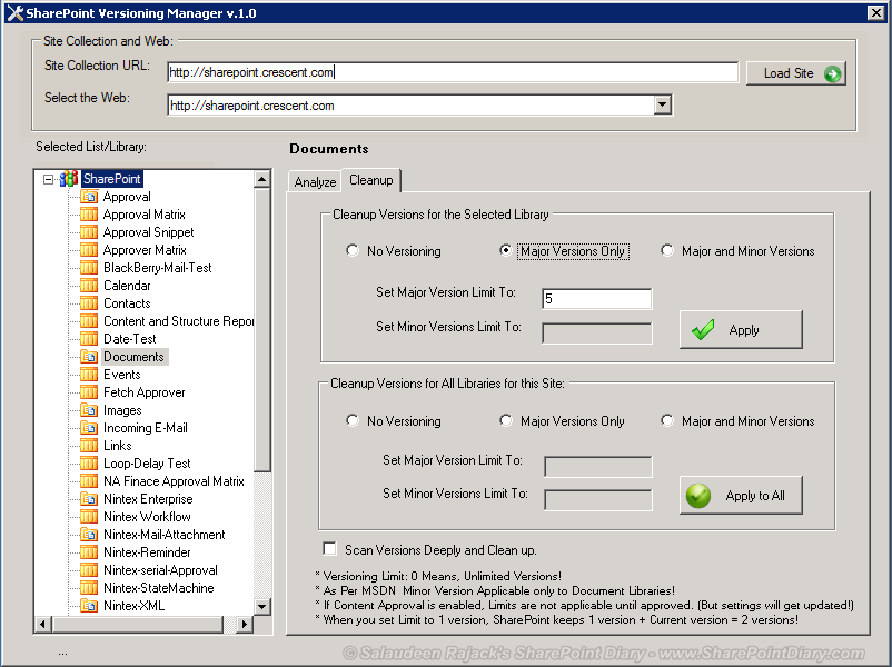 SharePoint Versioning Manager - Control and Clean Up Old Versions