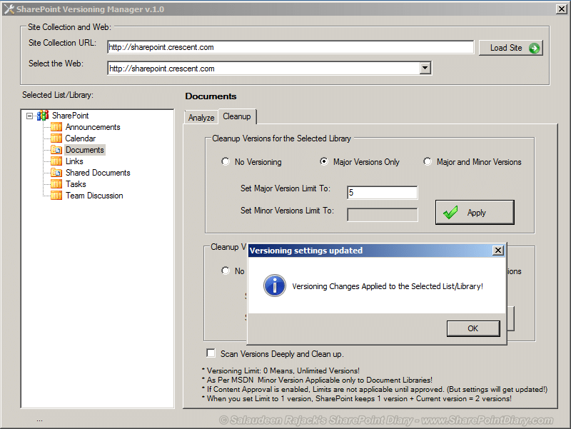 Tool to Trim and Cleanup SharePoint Versions