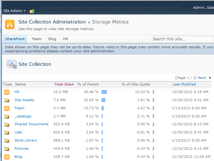 sharepoint get document library size