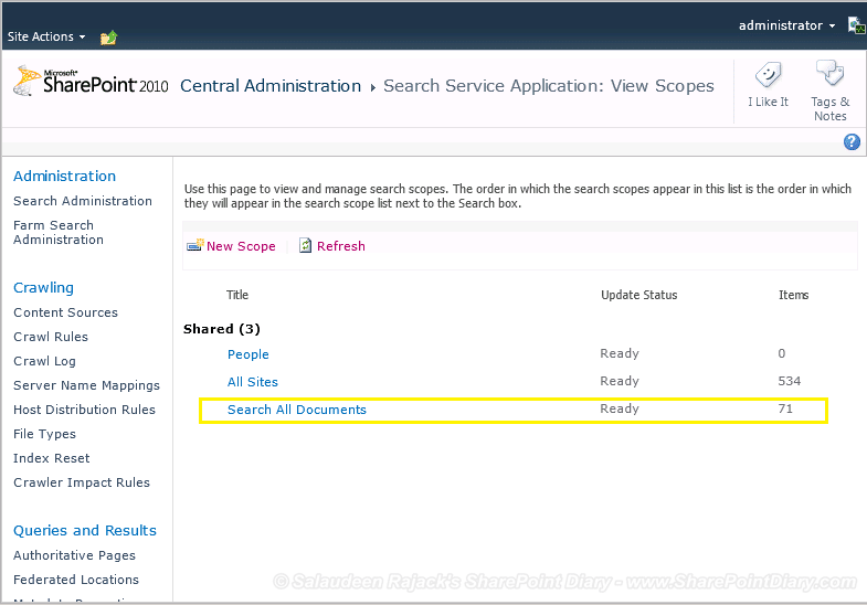 sharepoint search scope for document library