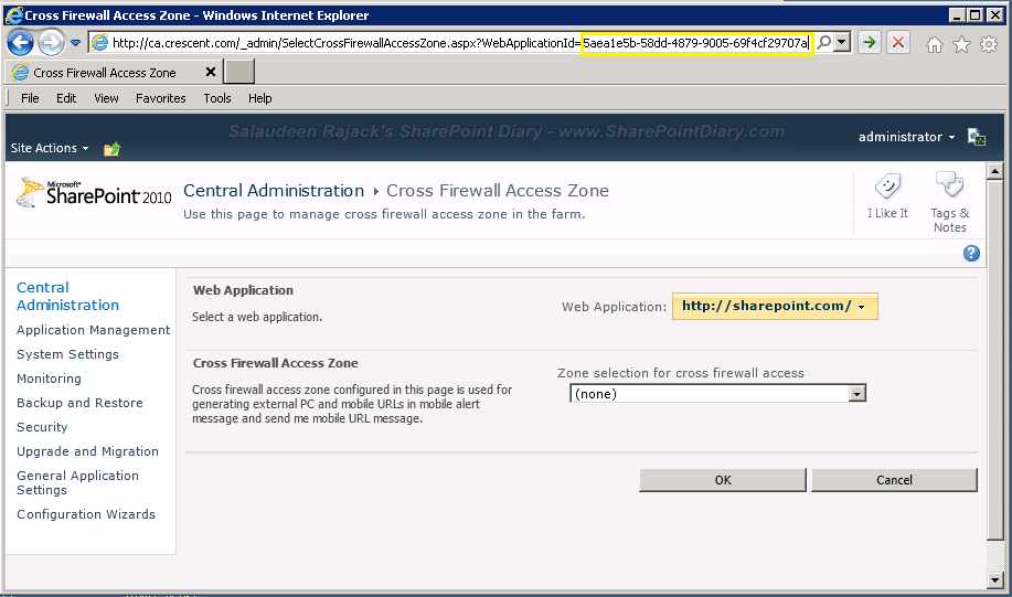 get web application guid from central admin