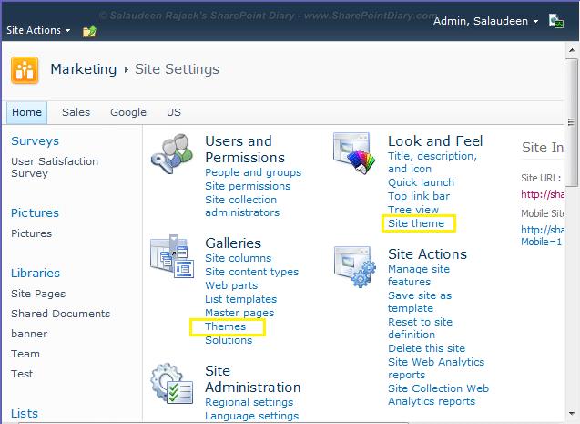 Hide Site Settings Links using HideCustomAction