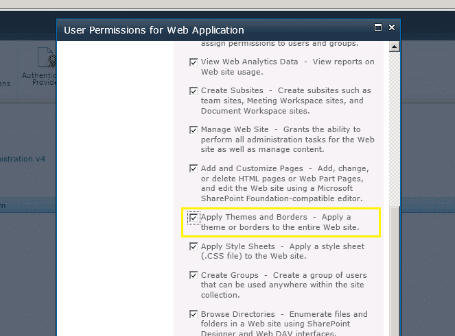 web application user permissions