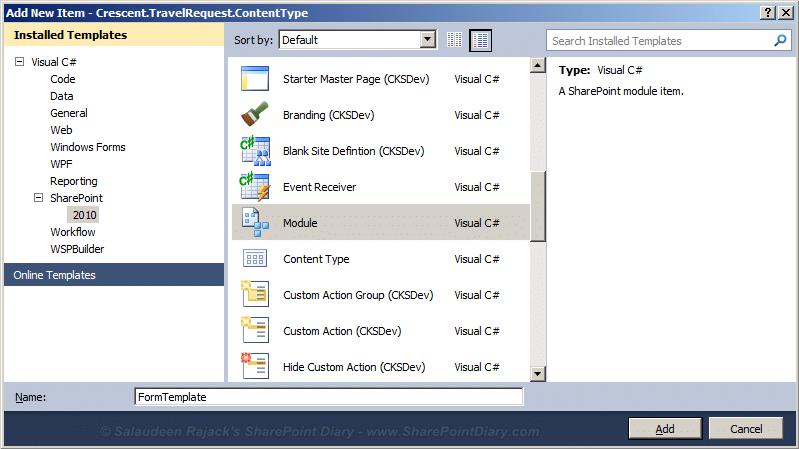 Custom Content Type using Visual Studio
