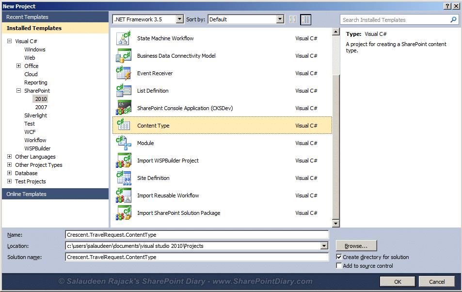 Export Import Content Types using Visual Studio