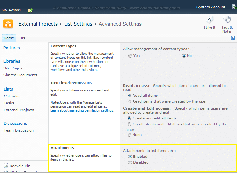 disable attachments in sharepoint