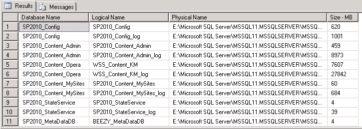 SQL Query to get Database Location and size