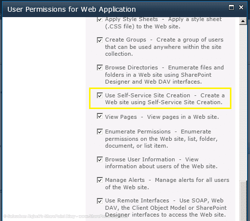user permissions to create my site
