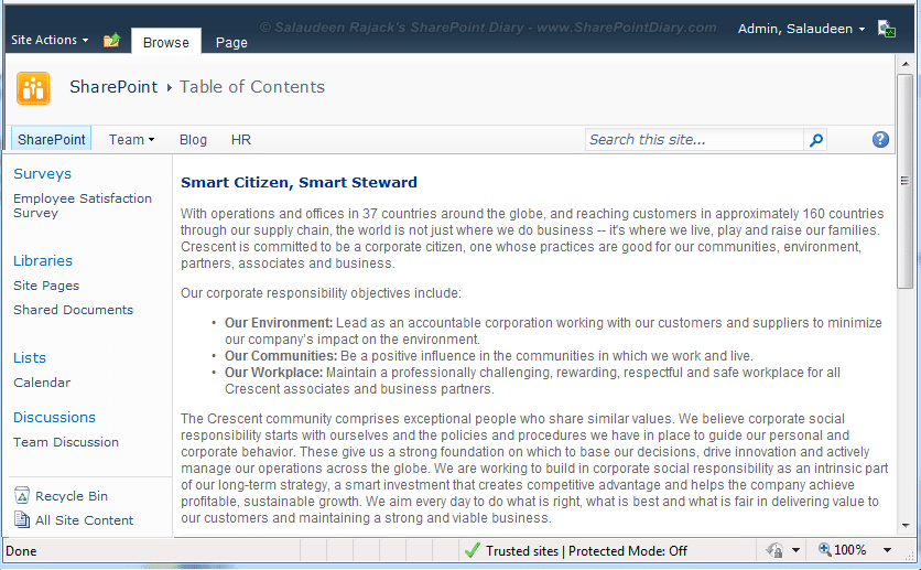 sharepoint 2010 add quick launch menu to web part page