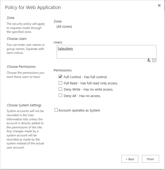add web application policy using powershell