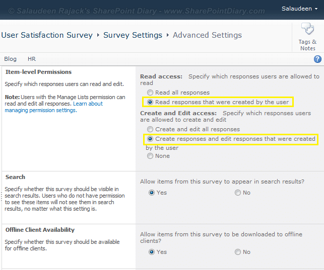 sharepoint survey hide results