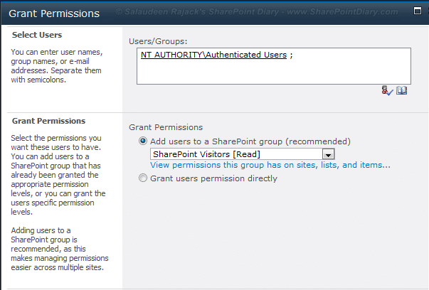 Add NT Authority\Authenticated Users to SharePoint