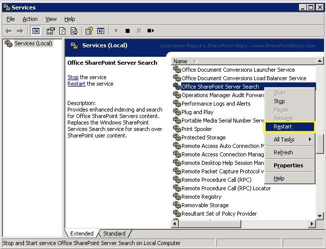 restart office sharepoint server search