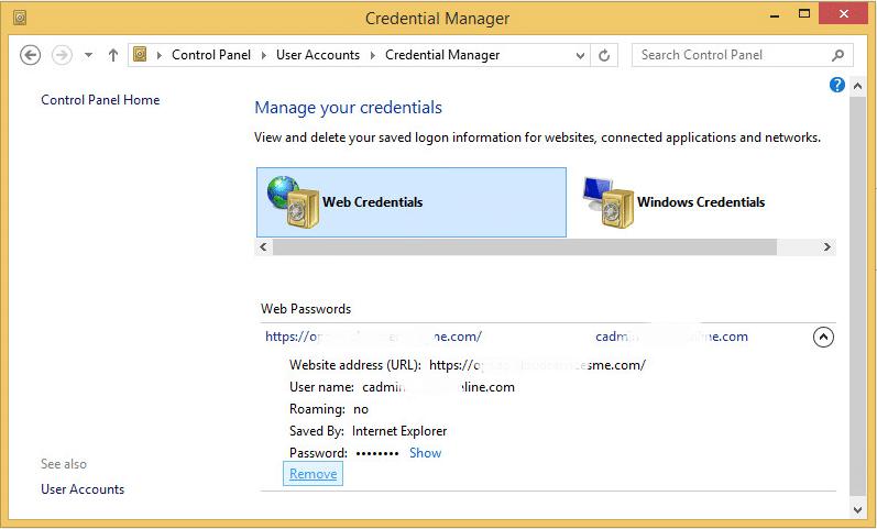 remove stored credentials