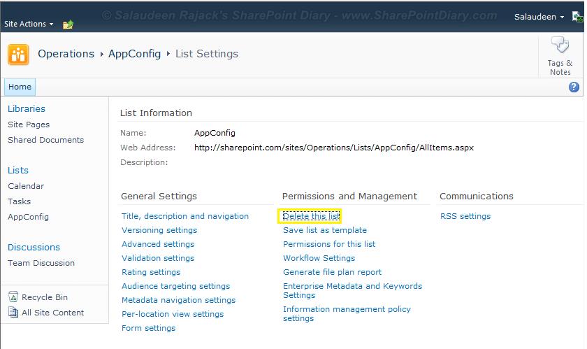 SharePoint list hide delete option