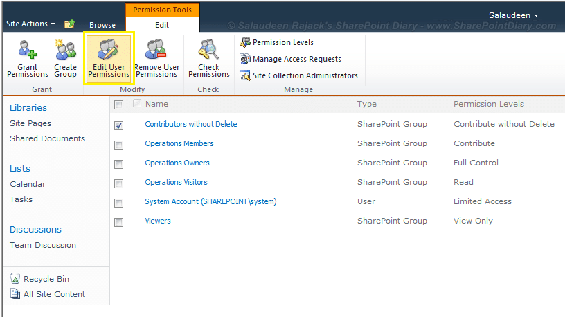 sharepoint 2010 change permission level for a group