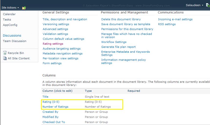 sharepoint 2010 list rating column