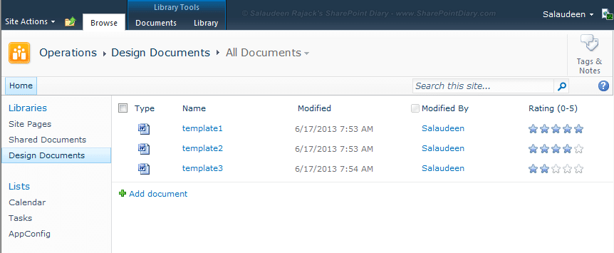 sharepoint 2010 rating documents