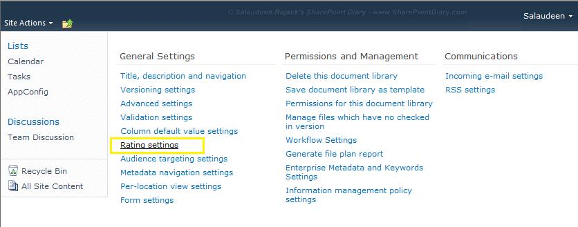 sharepoint 2010 rating settings