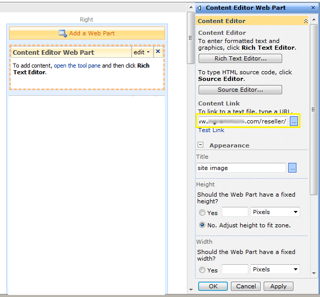 content editor web part tries redirect