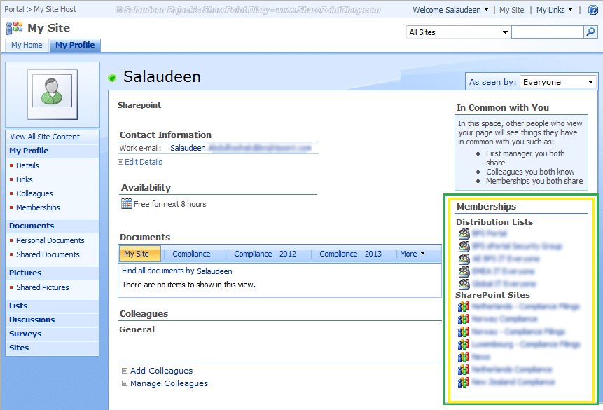 membership web part in sharepoint 2007 my sites