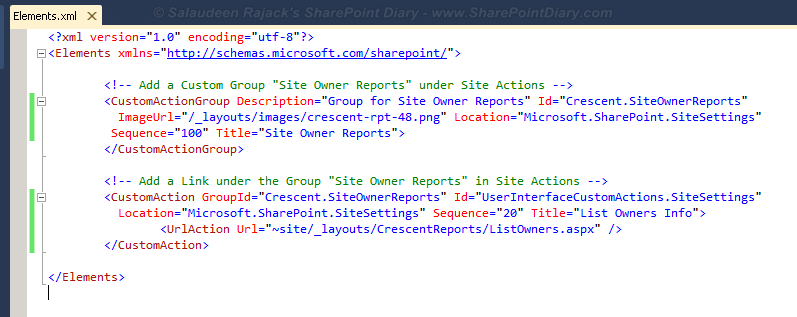 sharepoint add item to site settings elementsxml file